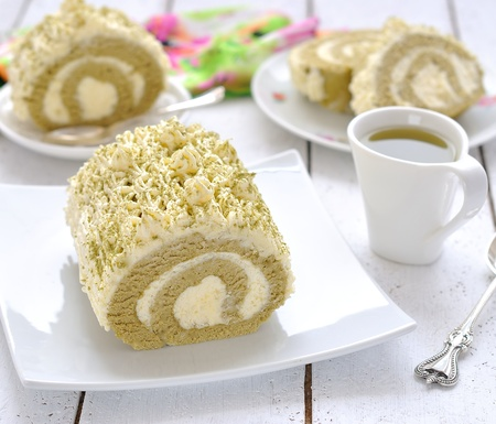 Roll with Japanese green tea of matcha