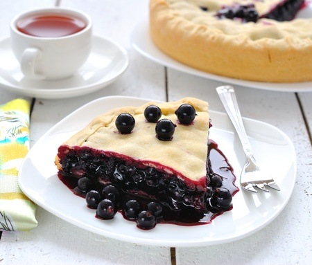 Vegan juicy pie with a black currant Stock Photo - 13268659