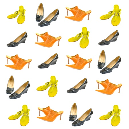 A collage of women s shoes on a white background Stock Photo - 13292922