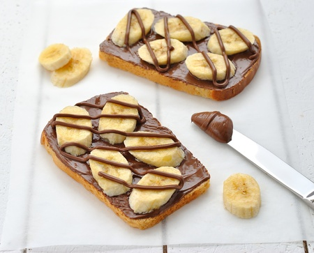 Toast with chocolate and banana Stock Photo - 13552340
