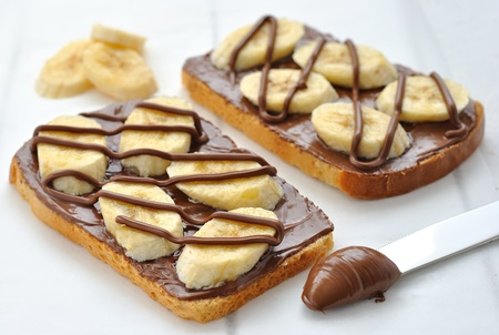 Toast with chocolate and banana photo