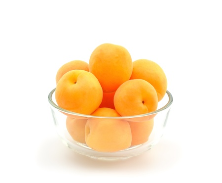 Apricots in a glass bowl Stock Photo