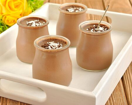 Chocolate desserts in jars photo