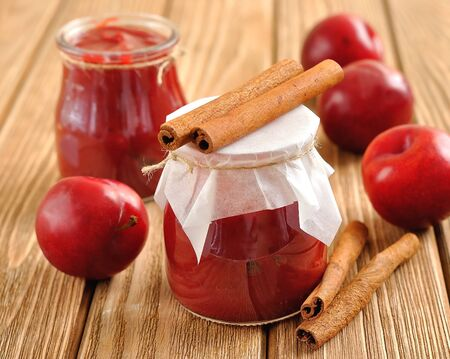 Plum jam with cinnamon photo