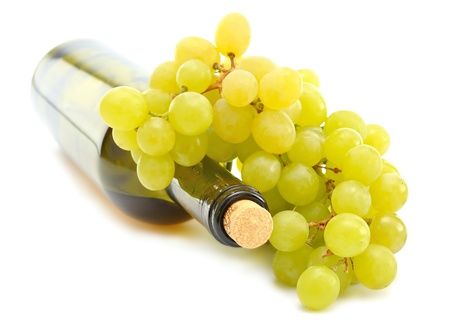 foreshortening:  Wine and Grapes on white background