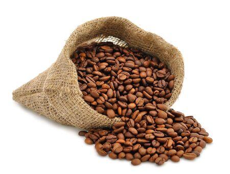 semilla de cafe: Granos de caf� en una bolsa Foto de archivo