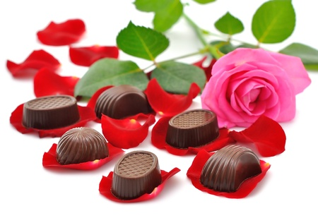 Roses and chocolates Stock Photo