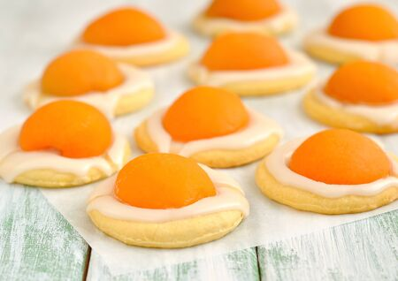 Cookies with apricots and sugar icing