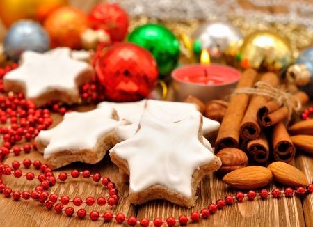 galletas de navidad: Estrella de Navidad galletas Foto de archivo