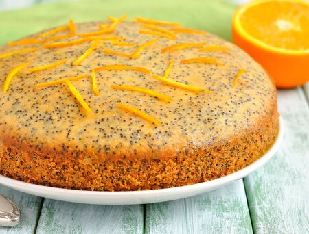 Orange cake with poppy seeds Reklamní fotografie