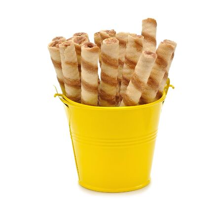 Biscuits in a small bucket on a white background Stock Photo