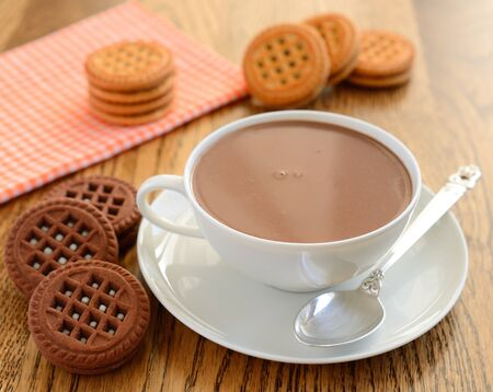 chocolate biscuits:  Hot chocolate and cookies Stock Photo