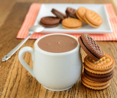 hot chocolate drink:  Hot chocolate and cookies Stock Photo