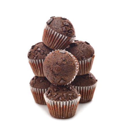 Chocolate muffins on a white background Stock Photo - 16802513