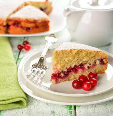 Cranberry cake on the white table Stock Photo - 16802522