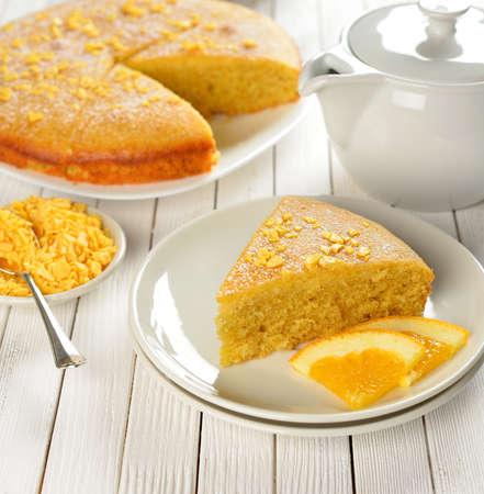 Orange pie on the white table Stock Photo - 16911014