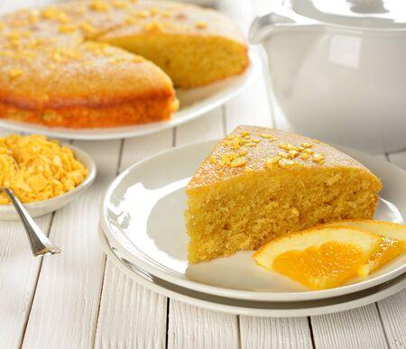Orange pie on the white table Stock Photo