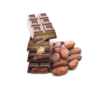 Chocolate and cocoa beans isolated on white background Stock Photo - 17058646