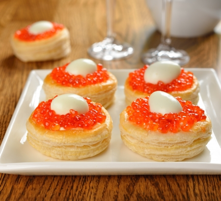 vol-au-vent with red caviar and quail eggs Stock Photo - 17092712
