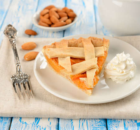 Piece of cake with apricots and whipped cream Stock Photo - 17165112