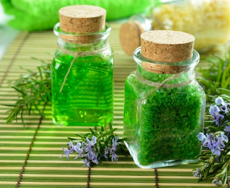 scrub grass:  Sea salt in a glass bottle and rosemary