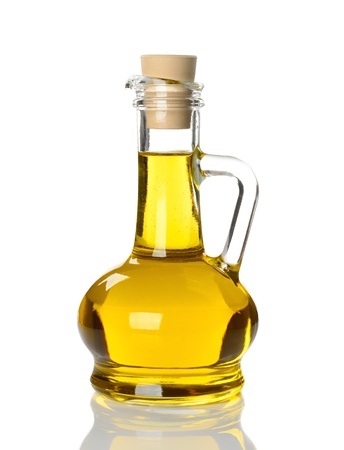 Olive oil in glass bottle isolated on white background Stock Photo