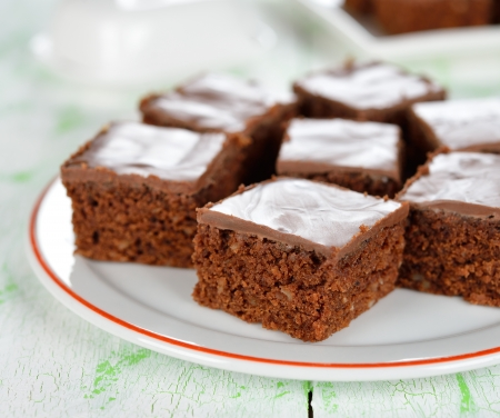 Chocolate brownies closeup on a white table Stock Photo - 19154699