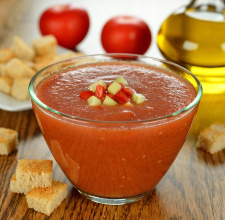 gazpacho soup on a brown table Stock Photo