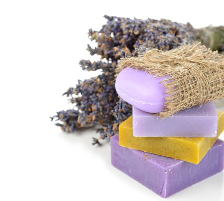 lavender soap on a white background Stock Photo