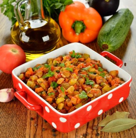 red braised: Vegetarian vegetable stew on a brown table