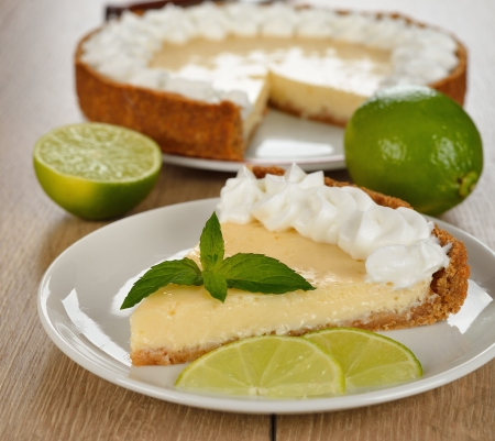 Key lime pie on a brown table