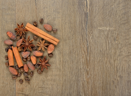 Coffee, cocoa beans and spices on a brown background Stock Photo - 21718138