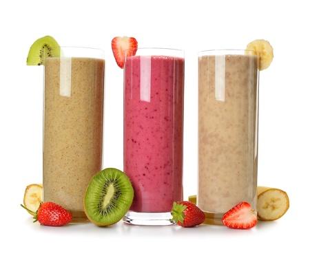 Smoothies strawberry, banana and kiwi isolated on white background Stock Photo