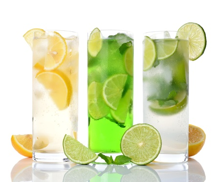 various refreshing drinks isolated on white background