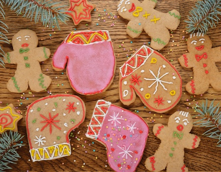 Christmas cookies on a brown background Stock Photo - 21718184