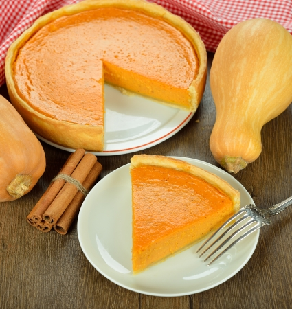 Traditional pumpkin pie on a brown table Stock Photo - 22439755