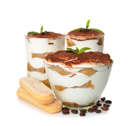 dessert tiramisu isolated on white background