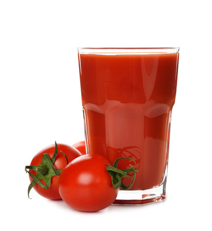 Fresh tomato juice isolated on white