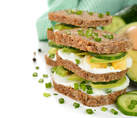 dietetic: Dietetic sandwich on a white background
