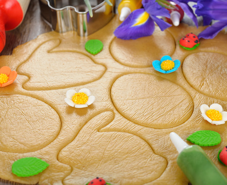 easter cookie: Easter cookie dough on brown background