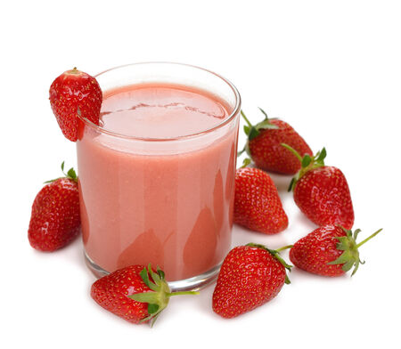 strawberry smoothies on a white background photo
