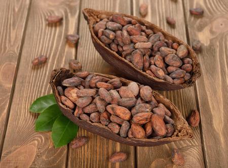 cacao beans: Granos de cacao natural sobre fondo marr�n