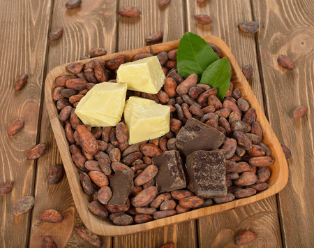 cocoa beans: Cocoa beans, cocoa butter and cocoa mass on brown background