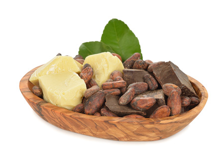 Cocoa beans, cocoa butter and cocoa mass isolated on white background