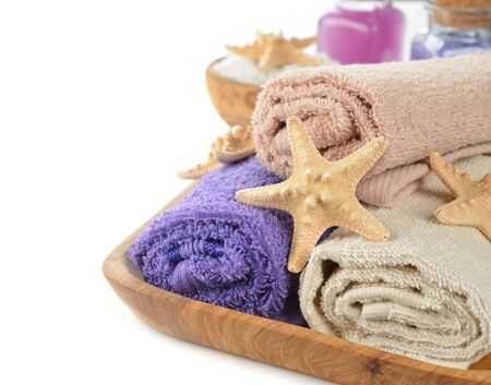 sea stars: Towels and sea stars on a white background Stock Photo