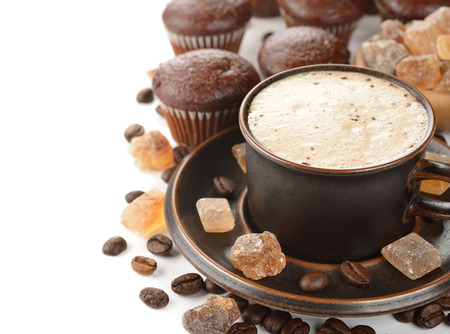 cup: Cup of coffee and chocolate muffins on a white background