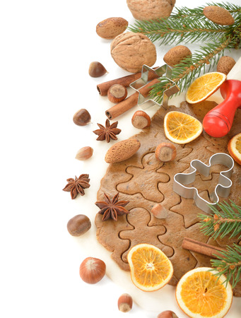 man nuts: Ingredients for baking Christmas cookies on a white background