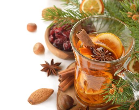 Mulled wine on white background Stock Photo