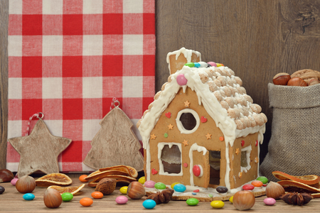 christmas house: Christmas gingerbread house on a brown background