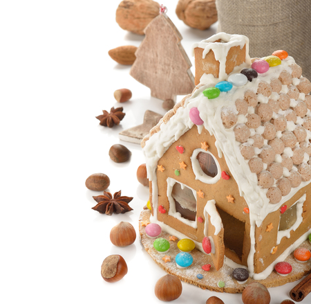 christmas house: Christmas gingerbread house on a white background